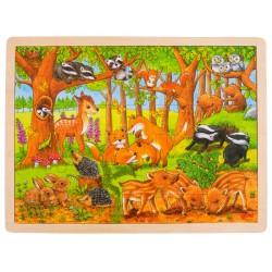 Puzzle cadre enfant en bois Animaux de la forêt 48 pièces