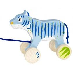 Tigre en bois bleu à tirer 18 cm