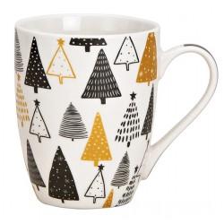 Tasse Noël sapins noir et doré porcelaine 30 cl