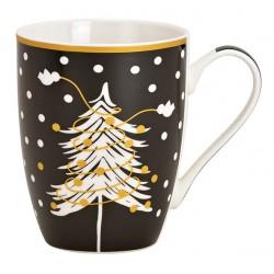 Tasse Noël sapin noir doré porcelaine 30 cl
