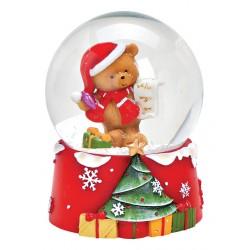 Boule à neige Noël ourson liste résine 9 cm