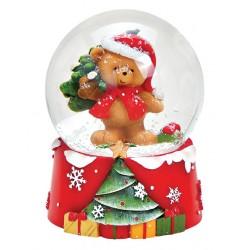 Boule à neige Noël ourson sapin résine 9 cm