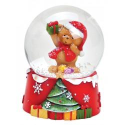 Boule à neige Noël ourson cadeau résine 9 cm
