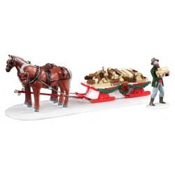 Livraison de bois avec chevaux Lot de 2 Lemax Vail Village