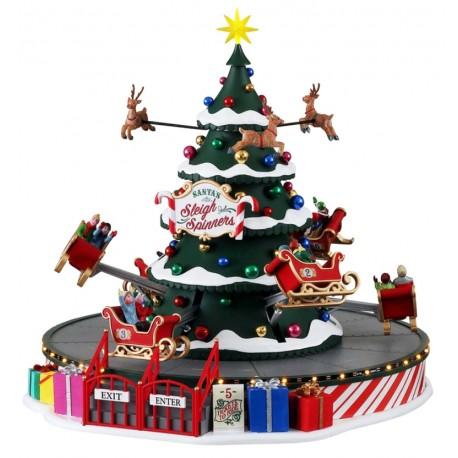 Manège Traîneaux de Noël lumineux animé sonore Lemax Carnival