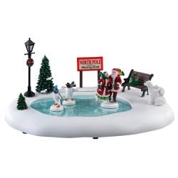 Patinoire du Pôle Nord animée Père et Mère Noël Lemax Santas Wonderland