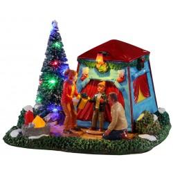 Scène lumineuse Tente de Noël en famille Lemax