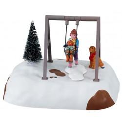 Scène animée Balançoire Enfant et chiens Lemax Harvest Crossing