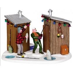 Amis qui pêchent dans la neige Lemax Vail Village