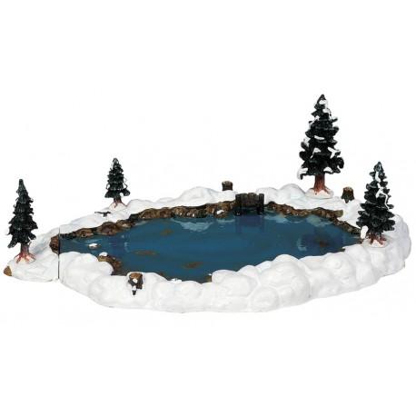 Lac enneigé avec sapins Lot de 6 Lemax Vail Village
