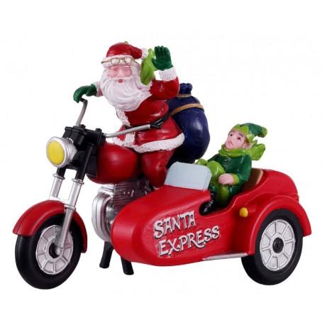 Père Noël en side-car Lemax Santas Wonderland