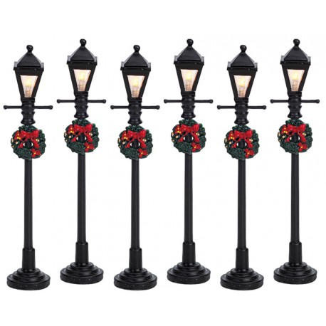 Lampadaires décorés lumineux Lot de 6 Lemax Caddington