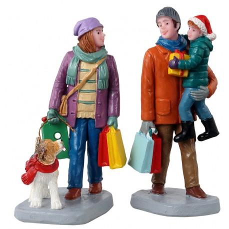 Courses de Noël en famille Lot de 2 Lemax