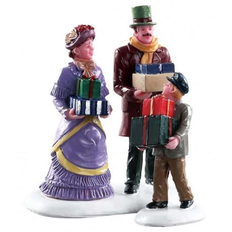 Courses de Noël en famille Lot de 2 Lemax Caddington