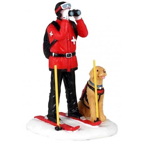 Patrouilleur à ski et son chien Lemax Vail Village
